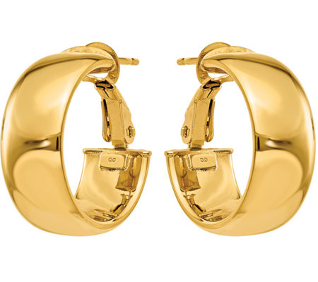 14K Gold Omega Back Hoop Earrings