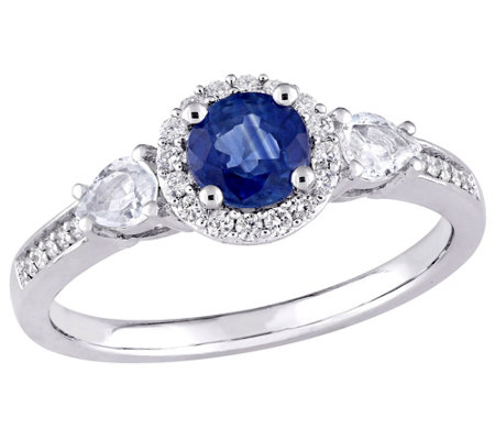 14K 1 cttw Blue & White and 1/8 cttw Diamond Ring