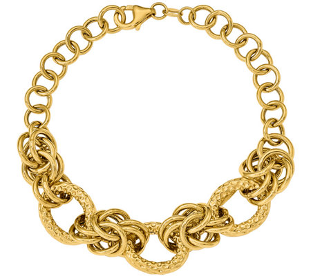 "14K Textured & Smooth Round Link 8"" Bracelet, 8.8g"