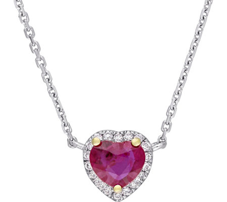 14K 0.44 ct Ruby & Diamond Accent Halo Heart Necklace