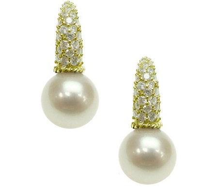 Judith Ripka 14K Clad Cultured Pearl & Diamonique Earrings