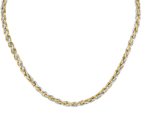 14K Two-Tone Braided Necklace, 11.8g