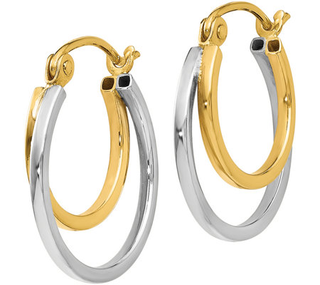14K Gold Two-Tone Double Hoop Earrings
