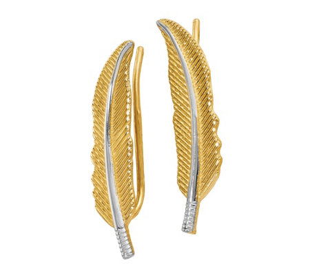 14K Gold Two-Tone Feather Climber Earrings