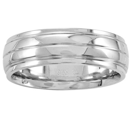 Sterling Silver 7mm Ribbed Band Ring