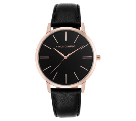 Vince Camuto Women's Rosetone Black Leather Strap Watch