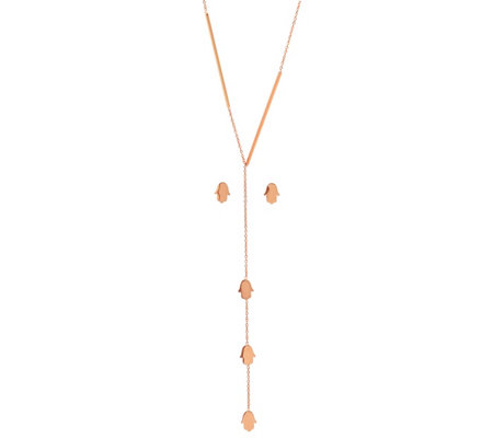Steel By Design Hamsa Lariat Earrings Necklace Set