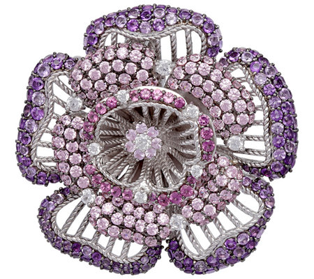 Judith Ripka Sterling Gemstone Flower Pin Enhancer