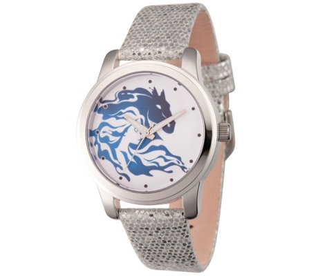 Disney Frozen 2 Women's Elsa Silvertone LeatherStrap Watch