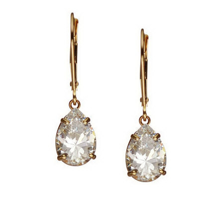 Diamonique 4.00 ct tw Pear Lever Back Earrings, 14K Gold