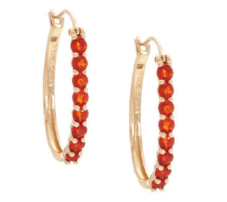 0 60 Ct Tw Mexican Fire Opal Hoop Earrings 14k Gold