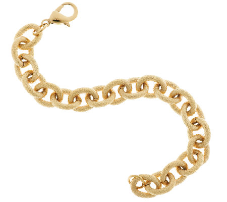 Stainless Steel Textured Oval Rolo Link Bracelet