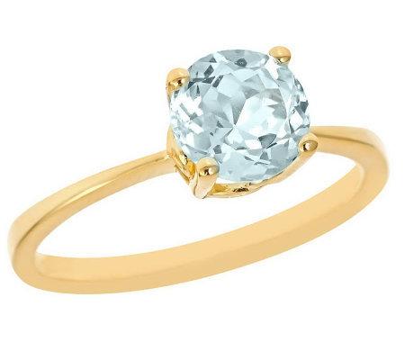 2c328d42f65cb 1.00 ct Round Aquamarine Ring, 14K Yellow Gold — QVC.com