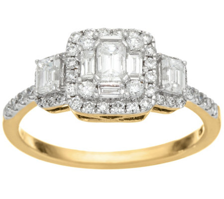 Emerald Cut Cluster Design Diamond Ring, 14K, 1.00 cttw, by Affinity