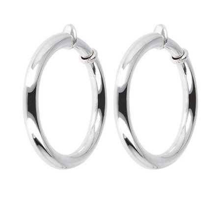 "UltraFine Silver 1-1/2"" Polished Clip-On Hoop Earrings"