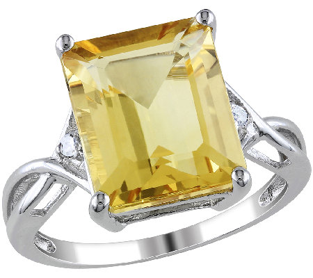 6.60cttw Emerald Cut Citrine Ring, Sterling Silver