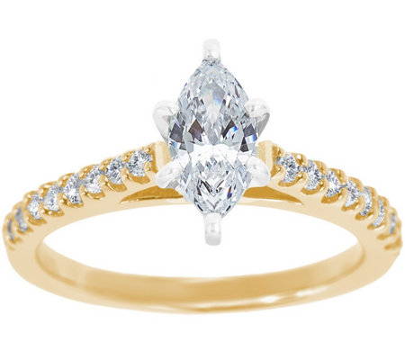 Diamond Pave Cathedral Ring, 14K Gold 3/4 cttw,by Affinity