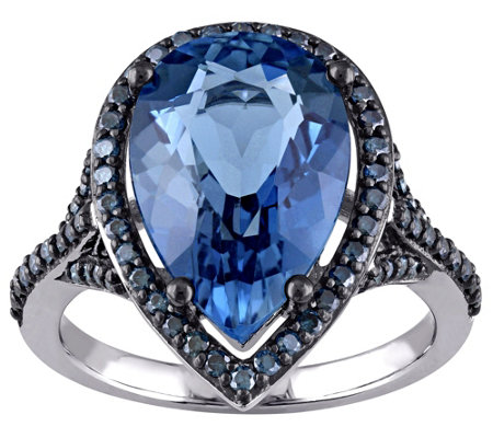 6.70 ct London Blue Topaz & 4/10 cttw Blue Diamond Ring, 14K