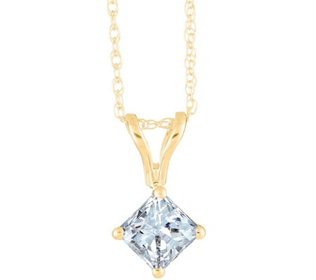 Princess-Cut Diamond Pendant, 14K Yellow, 1/2cttw by Affinity