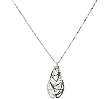 Sterling & Ruthenium-Plated Double Wavy Pendantw/ Chain