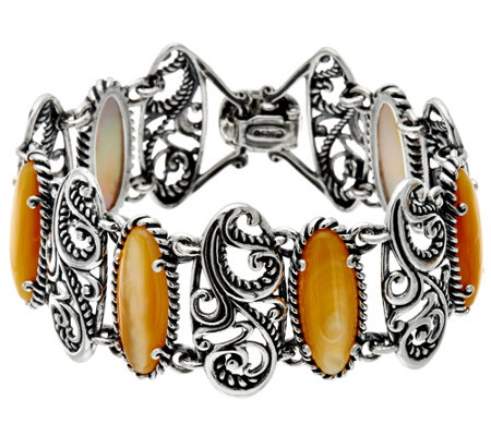 Carolyn Pollack Sterling Silver Mother-of-Pearl Signature Link Bracelet