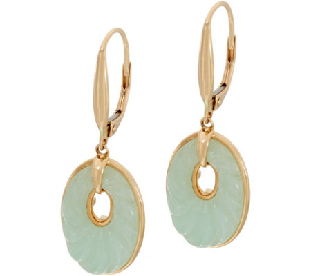 Carved Burmese Jade Lever Back Earrings, 14K