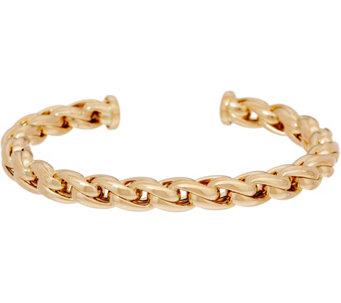 Italian Gold Average Status Link Cuff Bracelet 14k 10 6g J350955