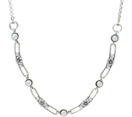 Or Paz Sterling Silver Cultured Pearl Flower Link Necklace