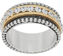 Or Paz Sterling Two-tone Crystal Spinner Ring - J351855