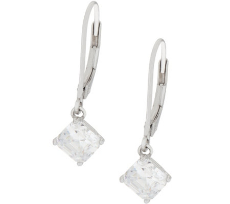 Diamonique 2.00ct Leverback Earrings Sterling
