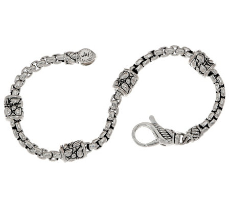 JAI Sterling Silver Textured Station Box Chain Bracelet