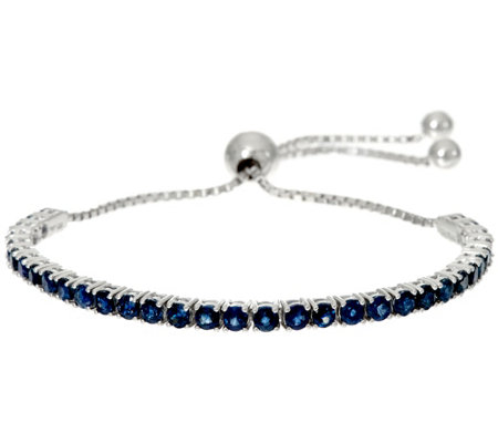 """As Is"" Precious Gemstone Sterl. Adjustable Tennis Bracelet"