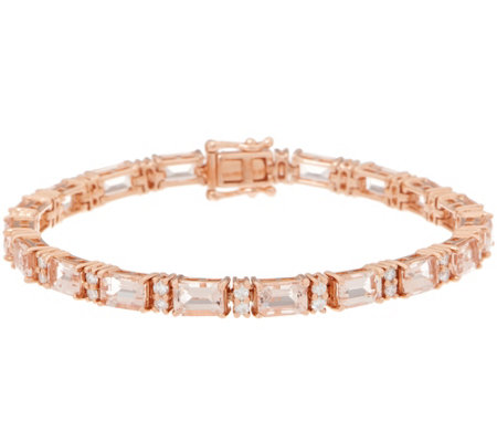 Morganite and Diamond 6-3/4 Tennis Bracelet, 8.15 cttw, 14K