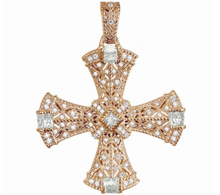 Judith Ripka 14K Yellow or Rose Gold Clad CrossEnhancer