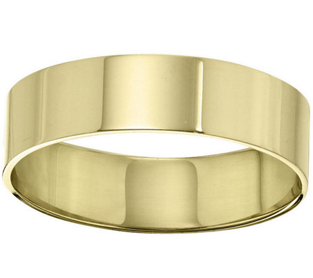 Women's 14K Yellow Gold 6mm Flat Comfort Fit Wedding Band