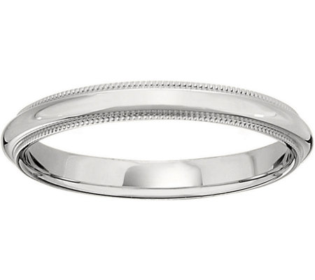 Men's 14K White Gold 3mm Milgrain Wedding Band