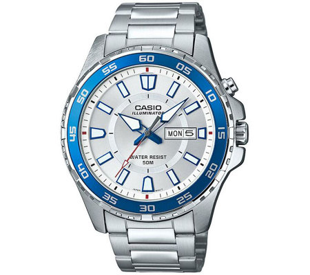 Casio Men's Silver Dive Style Watch