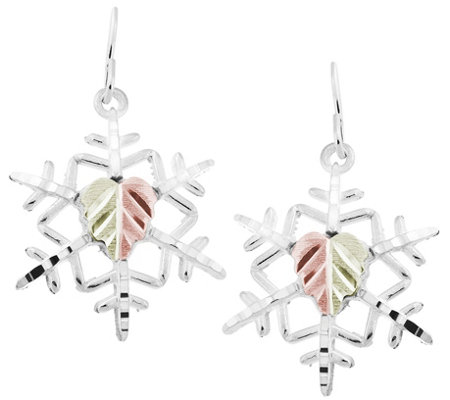 Black Hills Snowflake Earrings, Sterling/12K