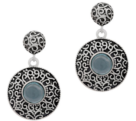 Artisan Crafted Sterling Silver Apatite Disc Earrings