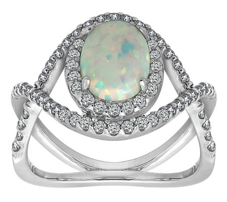 Diamonique Sterling Silver Simulated Opal HaloCrisscross Ring