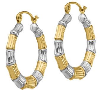 14k Gold 3 4 Two Tone Bamboo Hoop Earrings J385755