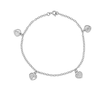 Italian Silver Love Heart Dangle Bracelet, 2.1g