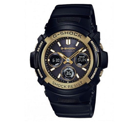 Casio G-Shock Solar-Powered Atomic Ani-Digi Watch, Black Stra
