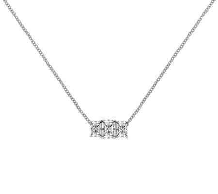 White 14K Gold Pear Shape Created Diamond Pendant w//3 small stones 2.15ct.