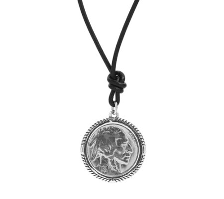 American West Sterling Unisex Buffalo Nickel Leather Necklace