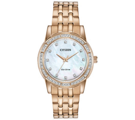Citizen Eco-Drive Women's Crystal Bezel with White Dial