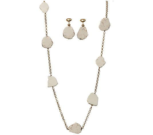 Linea by Louis Dell'Olio Tablet Necklace and Earring Set