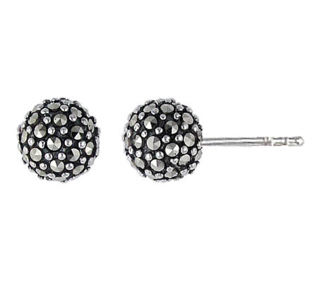 Suspicion Sterling Marcasite Ball Stud Earrings