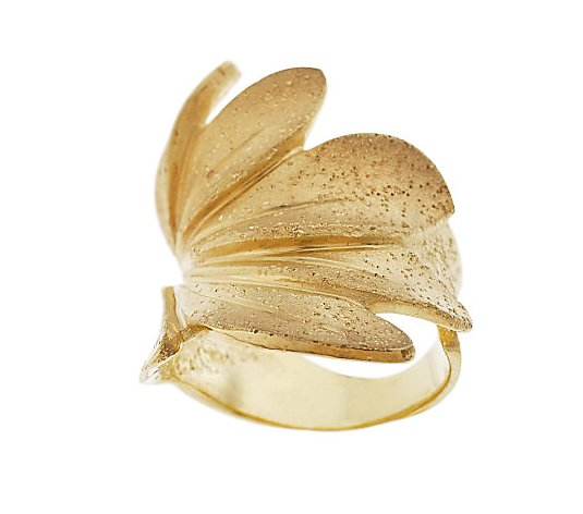 Arte d'Argento Sterling Textured Leaf Wrap Ring