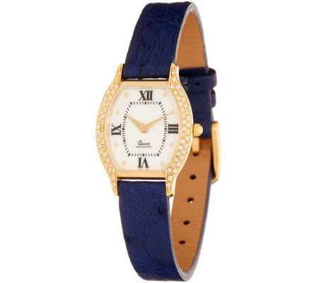 Vicence 3/10 ct tw Diamond Tortue Dial Leather Watch, 14K Gold